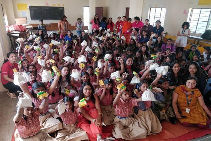 Hinduja Global Solutions distributes 2,800 Re-usable Sanitary Pads